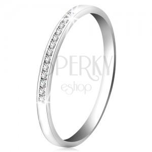 Brylantowy pierścionek z białego 14K złota - lśniąca linia małych bezbarwnych diamentów