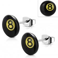 Kolczyki ze stali chirurgicznej, magiczna kula bilardowa numer 8 - czarny i żółty kolor