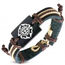 Bransoletka z czarnego skórzanego paska i brązowych sznurków, Tribal wzór