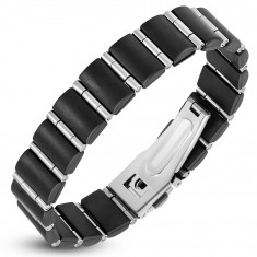 Stalowo-gumowa bransoletka, czarne prostokąty i wąskie walce srebrnego koloru