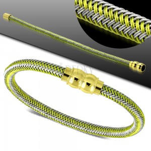 Zielono-szara bransoletka, pleciony wzór, magnetyczne zapięcie złotego koloru