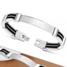 Stalowa bransoleta srebrnego koloru, czarne gumowe części, krzyż i modlitwa
