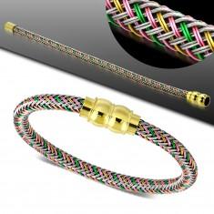 Bransoletka z kolorowym plecionym wzorem, magnetyczne zapięcie złotego koloru