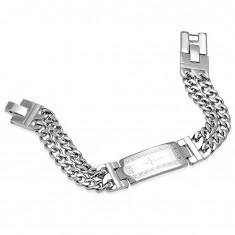 Bransoletka ze stali chirurgicznej srebrnego koloru, podwójny łańcuszek, płytka z krzyżem