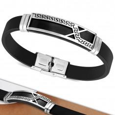 Bransoletka z czarnej gumy, płytka z asymetryczną linią i greckim kluczem