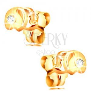 Złote 14K kolczyki sztyfty - mały słoń z bezbarwną cyrkonią