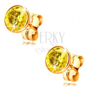 Kolczyki z żółtego 14K złota - oprawa z żółtą okrągłą cyrkonią, 5 mm