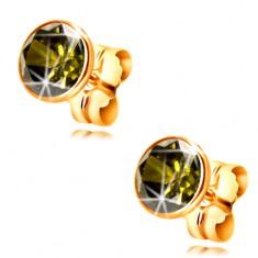 Złote 14K kolczyki - okrągła cyrkonia w kolorze oliwkowym w oprawie, 5 mm