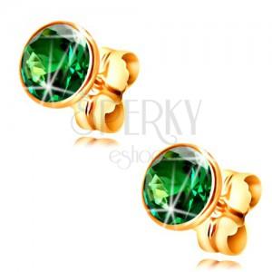 Złote kolczyki 585 - okrągła szmaragdowo zielona cyrkonia w oprawie, 5 mm