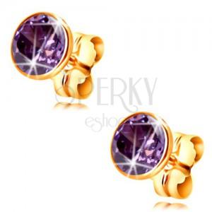 Złote 14K kolczyki - okrągła cyrkonia w ciemnofioletowym kolorze w oprawie, 5 mm