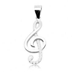 Rodowana srebrna zawieszka 925 - błyszczący klucz skrzypcowy, linia cyrkonii