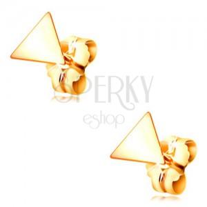 Kolczyki z żółtego złota 585 - lśniący płaski trójkąt, zapięcie na sztyft