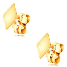 Złote 14K kolczyki z zapięciem na sztyft - płaski gładki romb, wysoki połysk