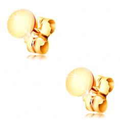 Kolczyki z żółtego 14K złota - lśniące płaskie kółko, zapięcie na sztyft