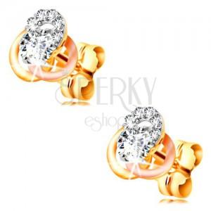 Złote 14K kolczyki - trójkolorowy węzeł z obręczy, okrągłe bezbarwne cyrkonie