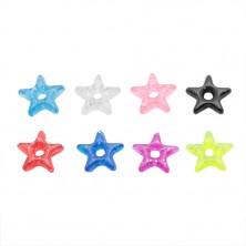 Zawieszka na piercing - kolorowa akrylowa gwiazda z brokatem