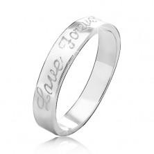 Obrączka ze srebra 925 z wygrawerowanym napisem Love Forever