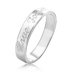 57bf4cecf7 Obrączka ze srebra 925 z wygrawerowanym napisem Love Forever