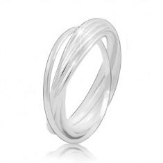 768b7369d2 Srebrny pierścionek 925 - połączone ze sobą cienkie pierścienie
