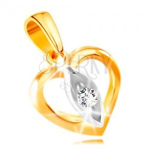 Zawieszka z 14K złota - zarys serca, ziarno z bezbarwną cyrkonią w środku