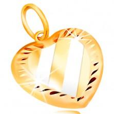 Złota zawieszka 14K - serce z ukośnymi pasami z białego złota, nacięcia po obwodzie