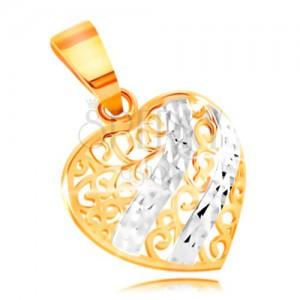 Złoty wisiorek 585 - wypukłe serce ozdobione filigranem i falami z białego złota