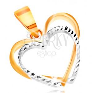 Zawieszka z 14K złota - dwa cienkie kontury serc wykonane z żółtego i białego złota, nacięcia