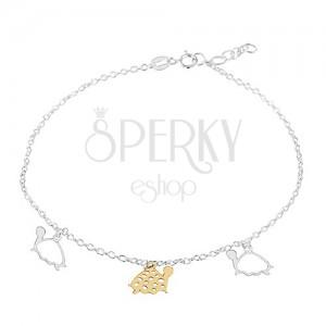 Bransoletka na nogę  ze srebra 925, trzy żółwie złotego i srebrnego koloru