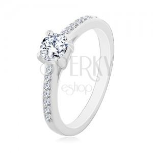 Zaręczynowy pierścionek ze srebra 925, okrągła bezbarwna cyrkonia, cienkie cyrkoniowe ramiona