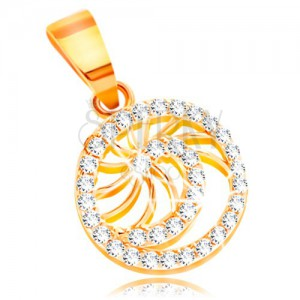 Złota zawieszka 585 - lśniąca spirala z bezbarwnych cyrkonii i cienkie błyszczące promienie