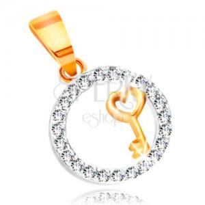 Zawieszka ze złota - kluczyk z sercem w obręczy z bezbarwnych cyrkonii