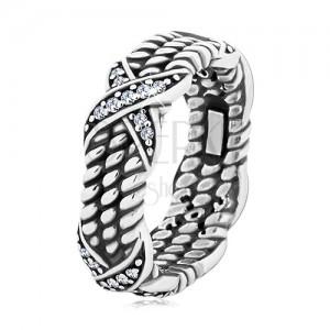 Patynowany srebrny pierścionek 925, motyw skręconej liny, krzyżyki z cyrkoniami