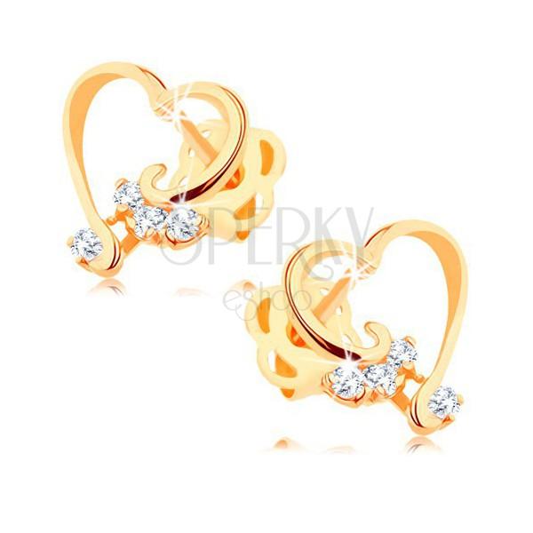 Brylantowe kolczyki z 14K złota - lśniący kontur serca, bezbarwne diamenty