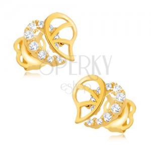 Brylantowe kolczyki, 14K złoto - nieregularny kontur serca z diamentami i nacięciami
