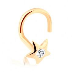 Diamentowy złoty piercing do nosa 585 - lśniąca gwiazda z brylantem