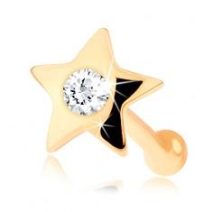 Prosty piercing do nosa z żółtego 14K złota - mała lśniąca gwiazda z diamentem