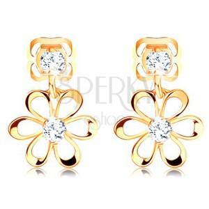 Diamentowe kolczyki w żółtym 14K złocie - kwiatek z zaokrąglonymi płatkami, bezbarwne brylanty