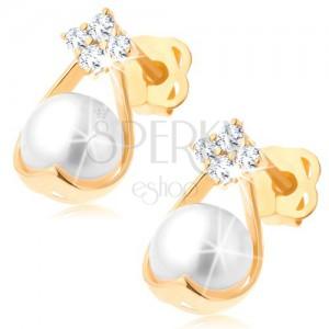 Złote brylantowe kolczyki 585 - cztery diamenty, kontur kropli z białą perłą