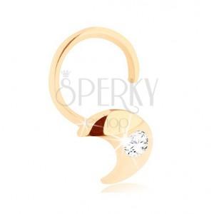Diamentowy złoty piercing do nosa 585 - zagięty, sierp księżyca z brylantem