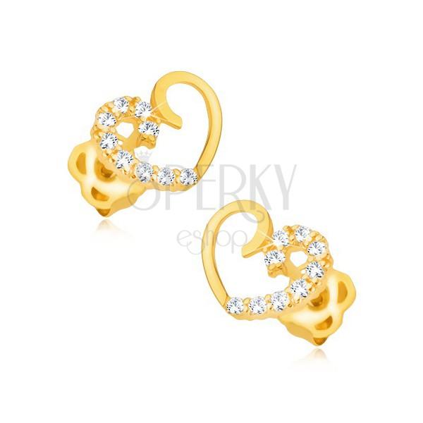 Kolczyki z żółtego 14K złota - zarys symetrycznego serca, połowa z brylantami