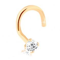 Brylantowy zagięty piercing do nosa, żółte 14K złoto - bezbarwny diament, 2 mm