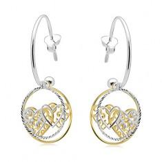 Kolczyki ze srebra 925, niepełne koło, obręcze z sercami, dwukolorowe