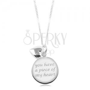 Naszyjnik ze srebra 925, lśniący łańcuszek, okrągła płytka z napisem, serduszko