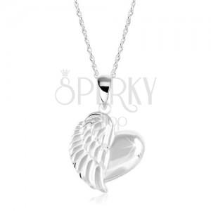 Srebrny naszyjnik 925, lśniące serce ze skrzydłem anioła, spiralny łańcuszek