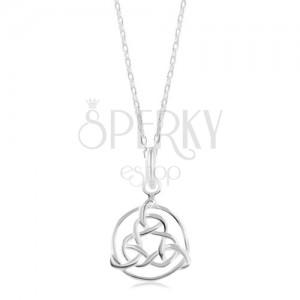 Naszyjnik ze srebra 925, lśniący łańcuszek, celtycki symbol w zarysie koła