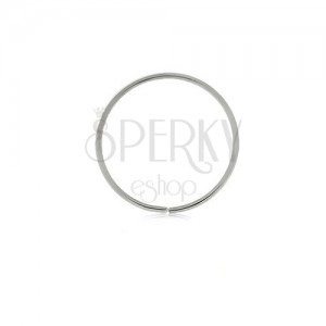 Piercing z białego 9K złota - lśniący cienki krążek, gładka powierzchnia