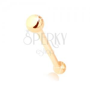 Prosty piercing do nosa z żółtego 14K złota  - mała lśniąca kuleczka, 2 mm