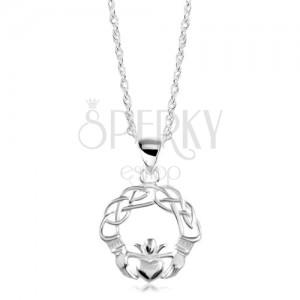 Srebrny naszyjnik 925, zaplecione linie, ręce i serce z koroną