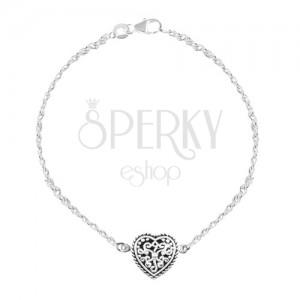 Srebrna 925 bransoletka, serce z czarną emalią i ornamentami