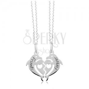 Naszyjnik ze srebra 925 - podzielone serce z dwóch delfinów, Friends Forever